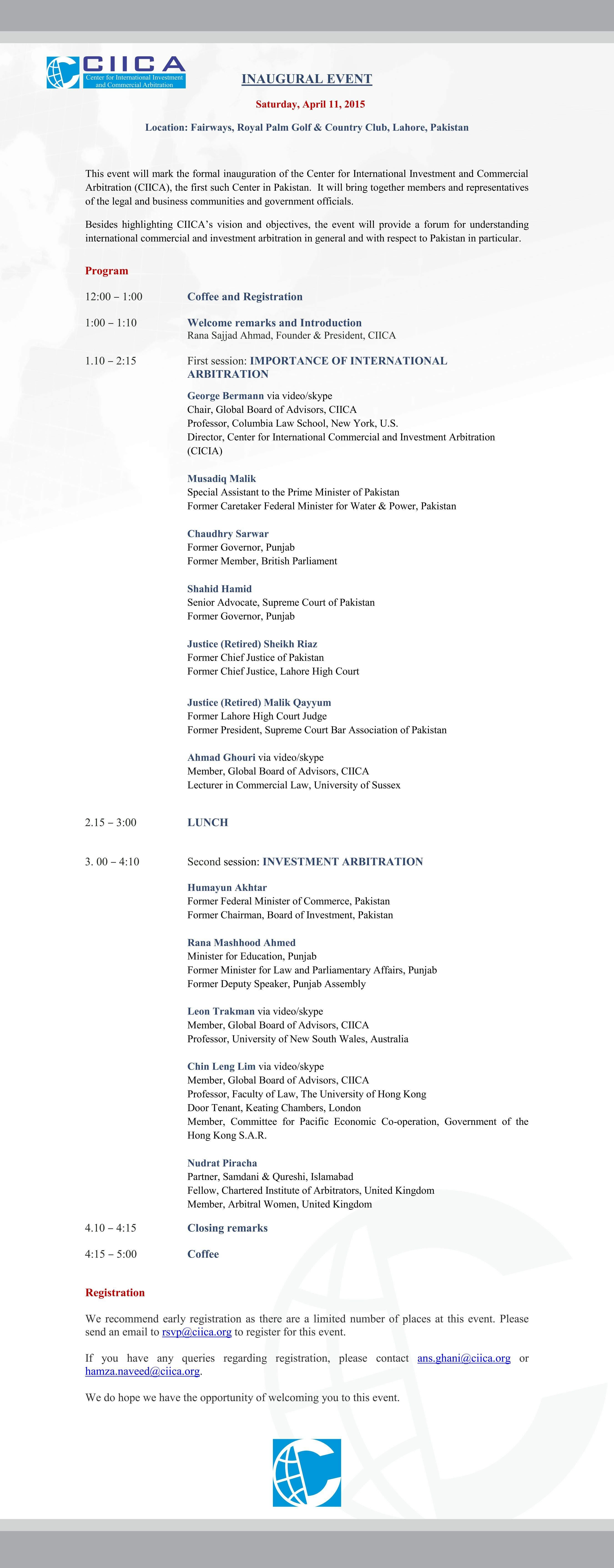 CIICA - Inaugural event program (April 11, 2015) Final